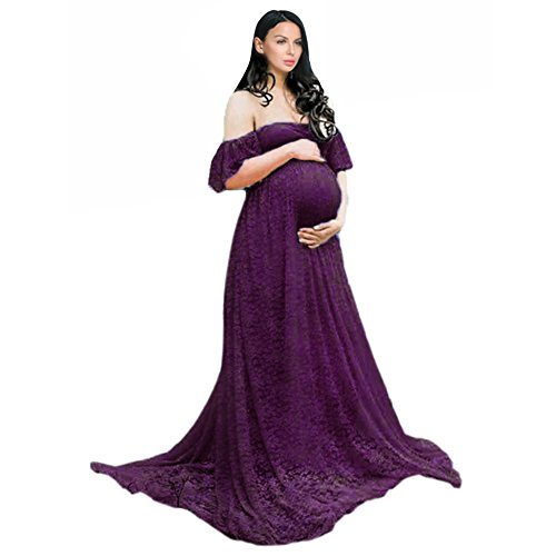 COSYOU Maternity Dress Sexy Off Shoulder Gown Dress for Women (S, Purple 5)
