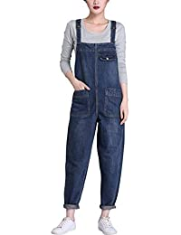Women's Casual Denim Cropped Harem Overalls Pant Jeans...