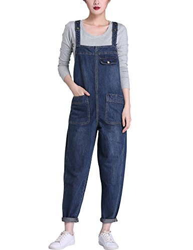 Yeokou Women's Casual Denim Cropped Harem Overalls Pant Jeans Jumpsuits, Blue, Small (Women Denim Overalls)