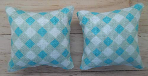 Check Design in Turquoise /& White 1//24th Scale Dolls House Printed Fabric Cushions
