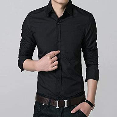 FidgetGear 100/% Cotton Mens Slim Fit Long Sleeve Button Down Casual Dress Shirt Tops