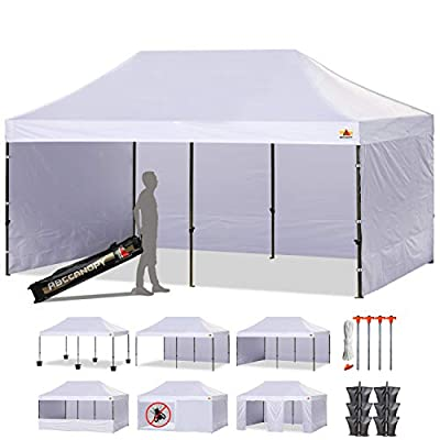 ABCCANOPY 23+ Colors Deluxe Pop up Canopy Outdoor Party Tent Commercial Gazebo with Enclosure Walls and Wheeled Carry Bag Bonus Weight Bags and Half Walls