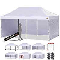 ABCCANOPY 23+ Colors Deluxe 10x20 Pop up Canopy Outdoor Party Tent Commercial Gazebo with Enclosure Walls and Wheeled Carry Bag Bonus 6 Weight Bags,2 Half Walls and 1 Screen Wall (White)