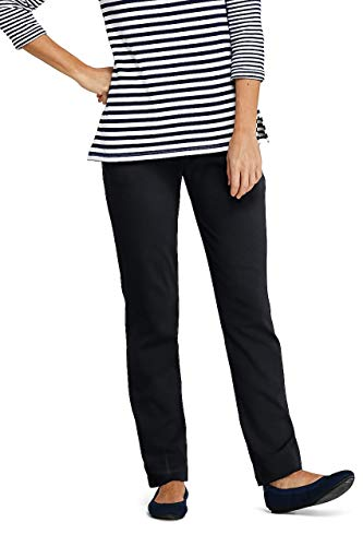 (Lands' End Women's Sport Knit High Rise Elastic Waist Pull On Pants Black)