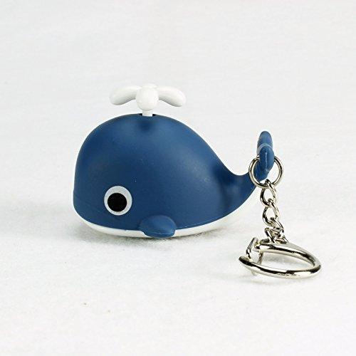Dark Blue Creative New Cartoon Whale LED Light Flashlight Sound Keychain Ring Pendant Doll