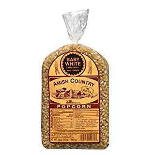 Amish Country Popcorn | 2 lb Bag | Baby White Popcorn Kernels | Small and Tender | Old Fashioned with Recipe Guide (Baby White - 2 lb Bag)