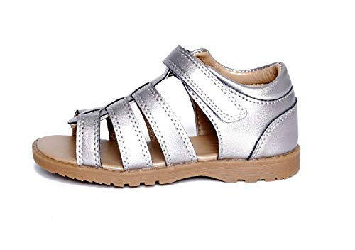 Maison de Saut Classic Fisherman Sandals Unisex Boys and Girls (11, Silver) (Footwear Leather Toddler Silver)