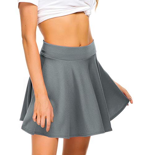 EXCHIC Women Stretch Waist Flared Mini Skater Skirt Casual Pleated Skirts (L, Grey)