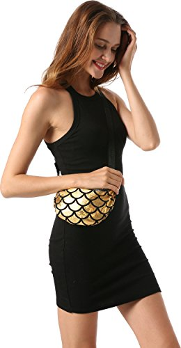 Ababalaya Glitzer Pailletten Gürteltasche Bauchtasche Geldbeutel Hüfttasche Kosmetiktasche Abendgesellschaft Tasche für Frauen Mädchen Gold KzIWFR