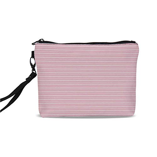 (Geometric Simple Cosmetic Bag,Feminine Horizontal Stripes in Artistic Soft Colors Parallel Lines Design Decorative for Women,9