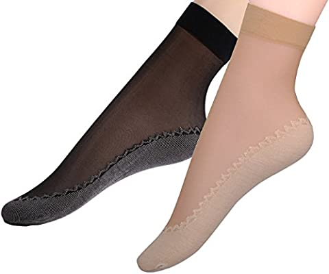 Fitu Women's 12 Pairs Silky Cotton Sole Sheer Ankle High Nylon Tights Hosiery Socks (Cotton Sole 6 Black 6 Beige) (Ankle High Hose)