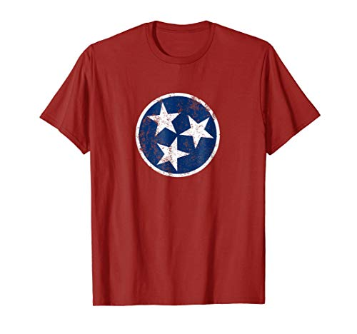 Mens Tennessee Flag Star Logo Volunteer State Nashville T Shirt XL Cranberry (Flag Shirt Star)