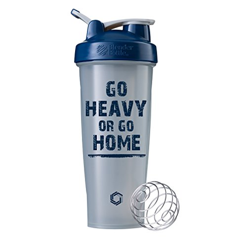 Go Heavy or Go Home on BlenderBottle Brand Classic Shaker Cup, 28oz Capacity, Includes BlenderBall Whisk ... (Pebble/Navy - 32oz)