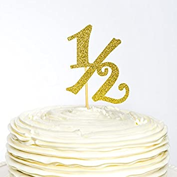 Pleasant Amazon De Halfte Birthday Glitzer Kuchen Topper 1 2 Birthday Funny Birthday Cards Online Aboleapandamsfinfo