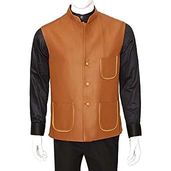 Libas Riyaz Gangji Brown Twill Vest For Men