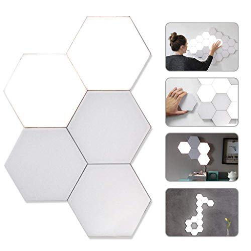 Quantum Light LED,Modular Touch Sensitive Lighting Wall Lamp Home Decor Removable Geometry Assembly Night Light for Room Decor Boutique Hexagon Wall Lamps,6Pcs