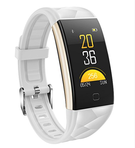 Smart Watch Waterproof Bracelet Colorful Screen with Heart Rate and Blood Pressure Monitoring Montre Intelligent Sleep Monitor Sport Pedometer Activity Tracker for Android iPhone (White) by Silverzone