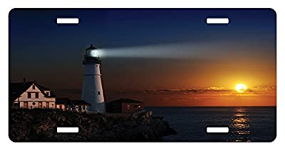 Lighthouse License Plate by Lunarable, Portland Headlight Lighthouse at Dawn Rocks Houses Fences Lamp Lights, High Gloss Aluminum Novelty Plate, 5.88 L X 11.88 W Inches, Navy Blue Orange
