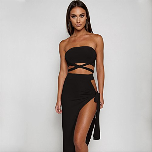 Bandage Boo (GUAngqi 1PCS Womens Sexy Bandage Tube Top High Waist Side Split Club Dresses,They are chic and modern, and the peek-a-boo glances of legs underneath give a hint of sexiness for the summer,L)