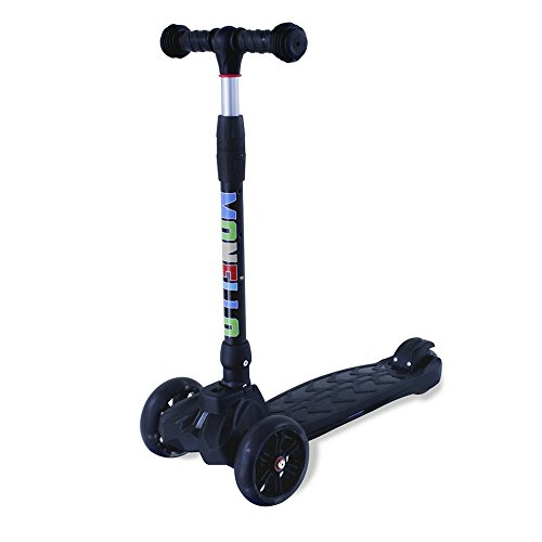 Monello Kick Scooters for Kids 3 Wheel Lean To Steer Adjustable Height PU ABEC-7 Flashing Wheels (Black)