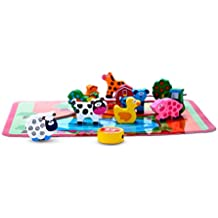Unique Wooden Barnyard Farm Animal Lacing & Bead Threading Toy for Toddlers - Educational & Developmental Toy for Preschool Boys & Girls 2 and 3 years old