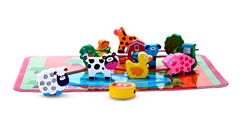 Unique Toys For Toddlers : Unique wooden barnyard farm animal lacing bead threading