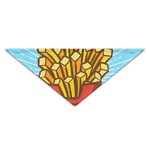 OHMYCOLOR French Fries Of Potato Dog Bandanas Scarves Triangle Bibs Scarfs Multi Coloured Basic Dogs Neckerchief Cat Collars Pet Costume Accessory Kerchief Holiday Birthday -