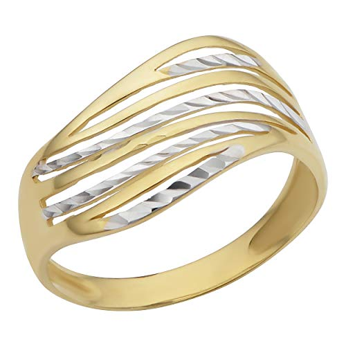 Kooljewelry 10k Two-Tone Gold Diamond-Cut Wave Design Ring (Size 7)