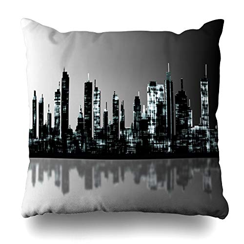 Ahawoso Throw Pillow Covers NYC Panorama City Skyline Exterior Manhattan Panoramic Urban America Home Decor Pillow Case Square Size 20 x 20 Inches Zippered Pillowcase