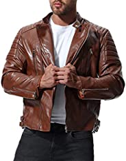 Vicbovo Clearance Mens Faux Leather Jacket - Motorcycle Lapel Bomber Punk Irregular Zipper Slim Biker Jacket O
