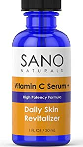 Vitamin C Serum for Face - 20% Vit C with Hyaluronic Acid and Vitamin E - Organic & Natural for Skin - Anti Aging Serum