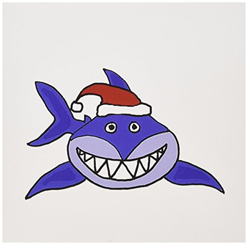 3d Rose 3dRose Funny Grinning Shark in Santa Claus Hat Gr...