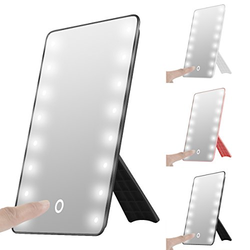 Touch Foldable LED Lighted Vanity Mirror with Light, Oenbopo