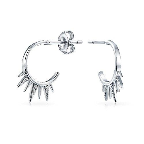 - Biker Spike Half Hoop Stud Earrings For Men For Women Cubic Zirconia Pave CZ Accent 925 Sterling Silver