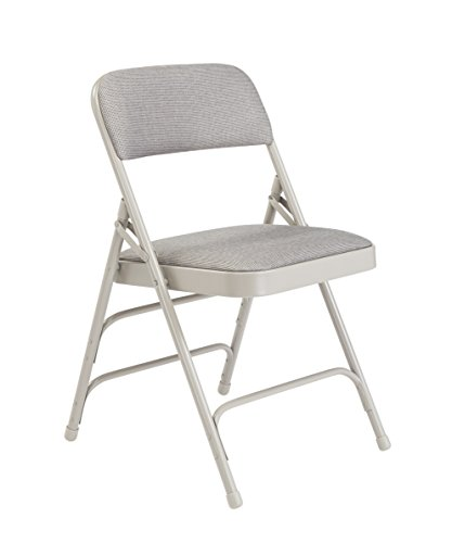(National Public Seating 2302 Steel Frame Upholstered Premium Fabric Seat and Back Folding Chair with Triple Brace, 480 lbs Capacity, Graystone/Gray (Carton of 4))