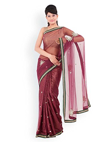 - Chhabra 555 Burgundy Nylon Supernet Fashion Saree