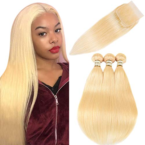 Goldfinch #613 Blonde Straight Bundles with Closure Platinum Blonde Human Hair Bundles with Closure Brazilian Straight Virgin Hair with Free Part Closure 16 18 -