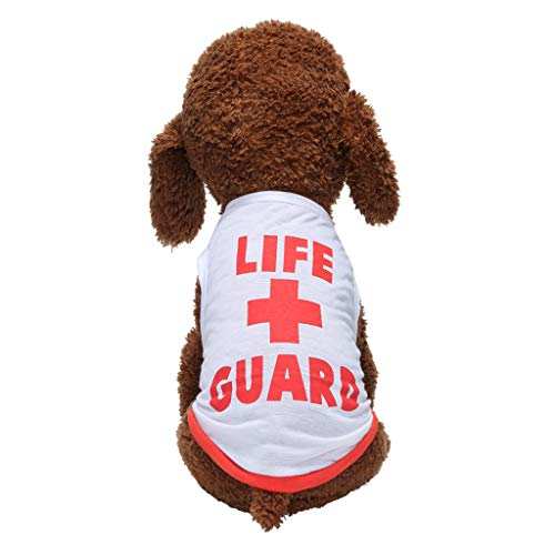 Comfy Soft Shirts for Dogs Cats Cute Letter Print Breathable Pet Clothes Life Guard (L, -