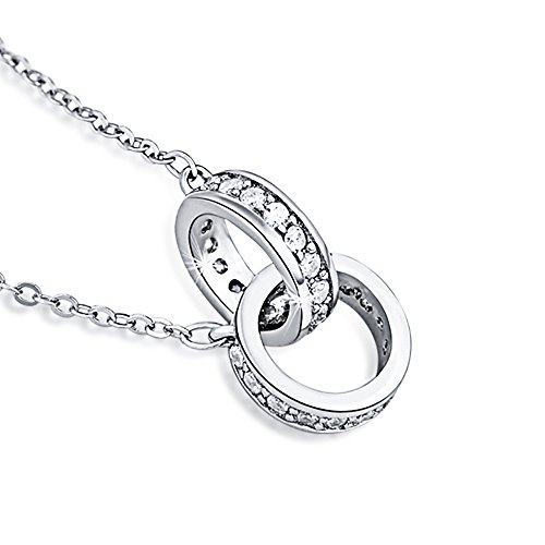 Furious Jewelry 925 Sterling Silver Interlocking Double Circles AAA CZ Pendant Necklace, Rolo Chain 16