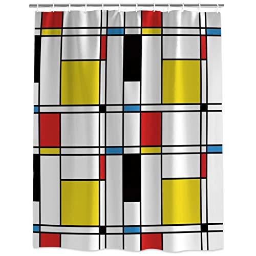 Vandarllin Abstract Geometric Art Pattern Bathroom Shower Curtain,Minimalist Modern Contemporary Waterproof Polyester Fabric Bath Curtain Design,Extra Long 72