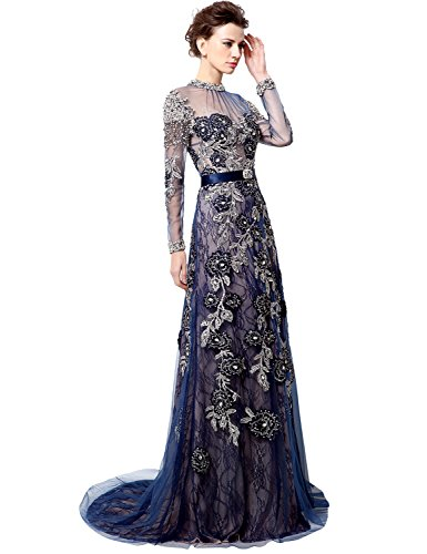 Belle House Lace Long Sleeve Beaded Pageant Gown Navy Blue Evening Dress