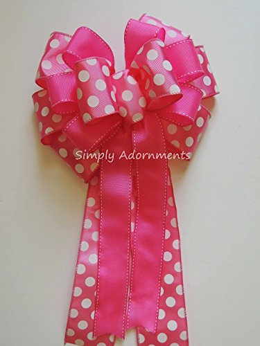 Pink White Polka dots Bow Pink Polka Dots 1st Birthday Party Decoration, Pink White Polka Dots Baby Shower Decor, Pink Spring Door Hanger Bow (Wired Stitch)