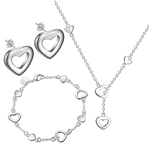 Women 925 Silver Plated Hollow Heart Pendant Necklace + Bracelet + Earrings Jewelry Set - 2