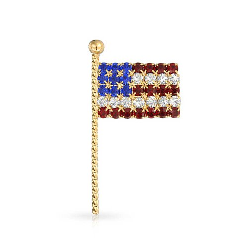 (Bling Jewelry Patriotic American Flag Lapel Pin Red White and Blue Crystal Gold Plated)