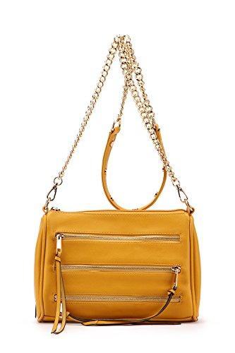 Strap MKF Arlene Handbags Farrow Yellow Mia Crossbody Pocket K Collection by Triple Bag Zippered Chain 0HgnIq