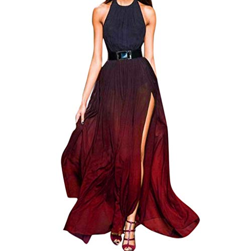 ⚡HebeTop⚡ Women's Gradient Long Formal Evening Dress Prom Gowns Fashion Halter Split Dress Red ()