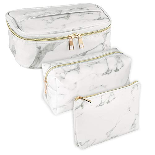 SUBANG 3 Pack Marble Makeup Bag Toiletry Bag Travel Bag Portable Cosmetic Bag Makeup Brushes Bag Waterproof Organizer Bag for Women Girls Men