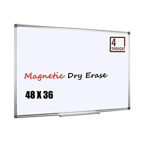 4 THOUGHT Magnetic Dry Erase Board, 48 X 36 Inches Whiteboard Wall-Mounted with Aluminium Frame and Removable Marker Tray, Magnetic Message and Memo Bulletin Board of Commercial Quality (Solid 48' Frame)