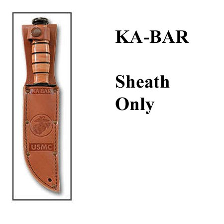 "Ka-Bar 1217S KA bar, Leather Sheath, USMC Logo, Fits Knife with 7"" Blade, Brown"