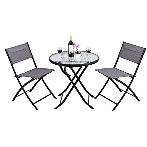 Outdoor Patio Furniture Bistro Set - 3 Pieces Outside Foldable Portable Conversation Sets W/ 2 Chairs & Table - Modern Seating Design Perfect For A Cafe Pub Garden Front Porch Yard Lawn Balcony by DUSTNIE